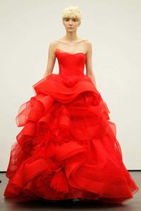 nyfiko vera wang Cardinal strapless ballgown