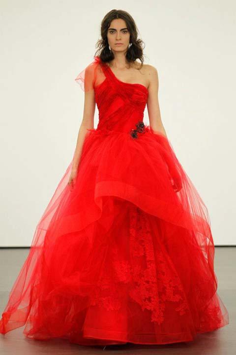 nyfika 2013 vera wang Cardinal one-shoulder ballgown