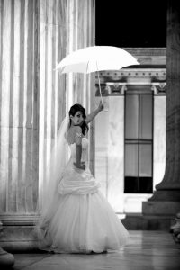 Bride with umbrella