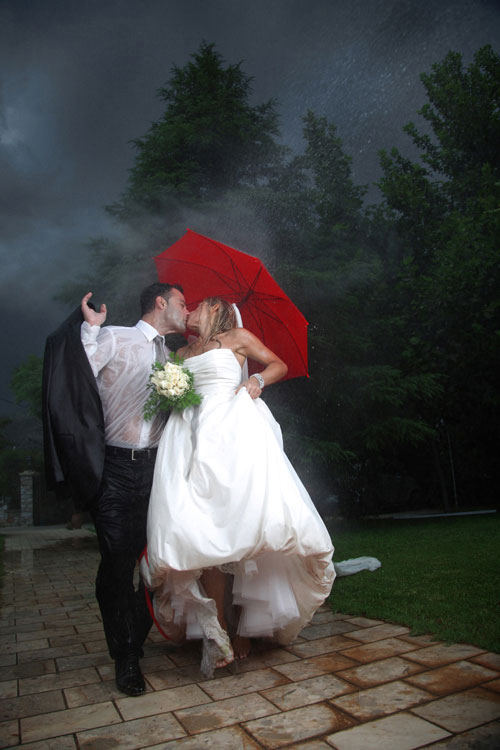 Wedding photography with umbrella