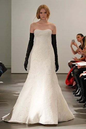 Ivory corded rose lace strapless A-line gown with black web lace back detail
