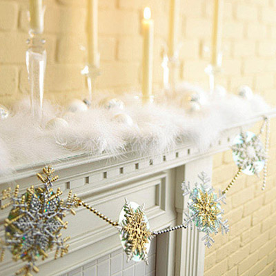 white christmas fireplace decor