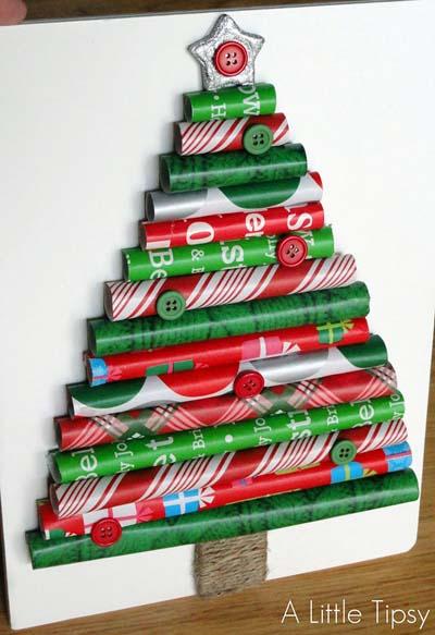 χριστουγεννιάτικο δέντρο με χαρτί περιτυλίγματος