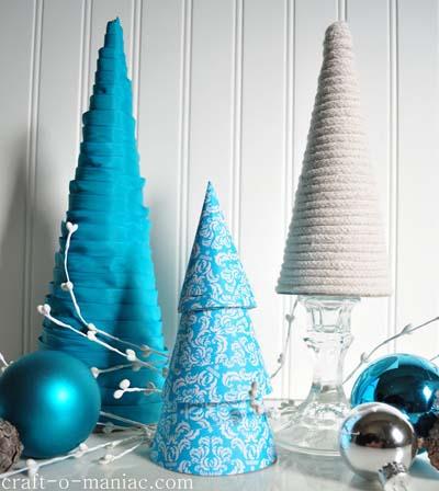 δεντράκια για τα Χριστούγεννα από κορδέλες και κορδόνια