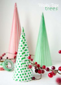 διακοσμητικά χριστουγεννιάτικα δεντράκια με washi tapes