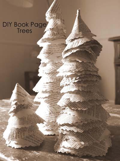 χριστουγεννιάτικη διακόσμηση με δέντρα από χαρτί