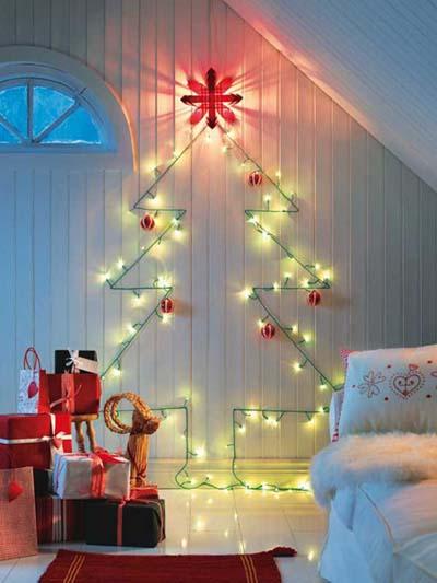 χριστουγεννιάτικα φωτάκια σε σχήμα δέντρου για τον τοίχο