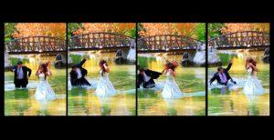 Ο γαμπρός χάνει την ισορροπία του μέσα στο νερό