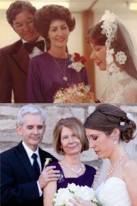 ίδια φωτογραφία γάμου με την μαμά όταν ήταν εκείνη νύφη