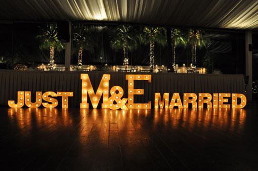Light letters for weddings