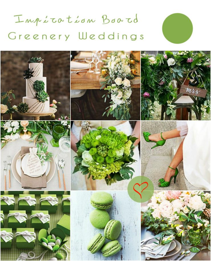 χρώμα γάμου greenery wedding inspiration board
