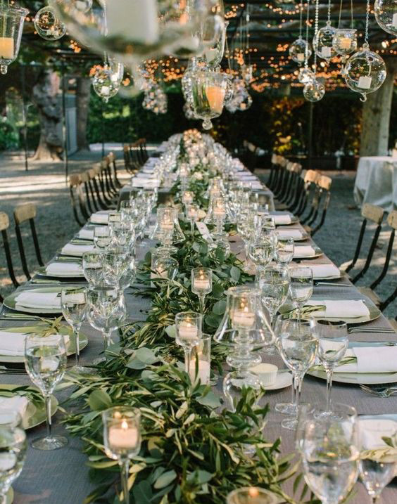 greenery wedding table centerpiece