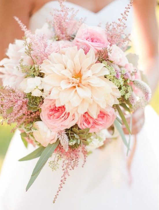 pink flowers bridal bouquet