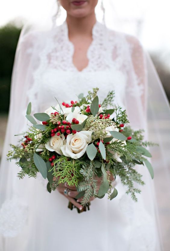 christmas winter bridal bouquet berries