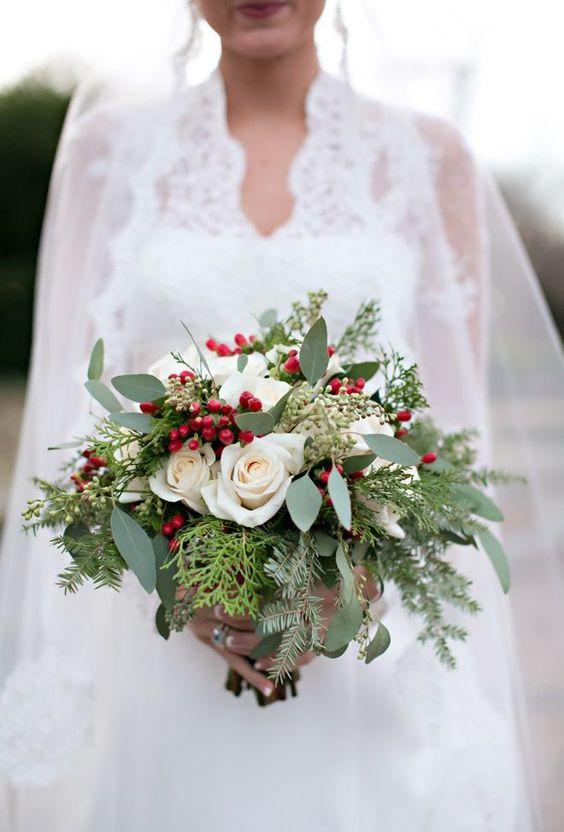 christmas winter bridal bouquet berries