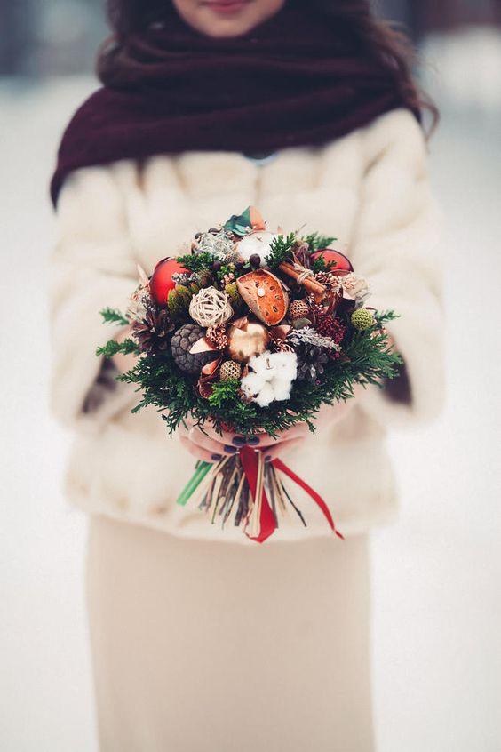 christmas winter bridal bouquet ornaments
