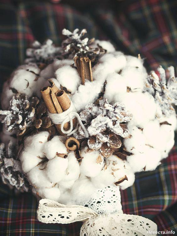 christmas winter bridal bouquet cinamon cotton