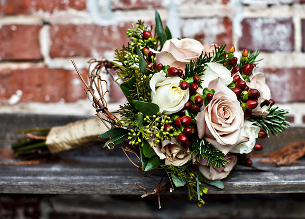 christmas winter bridal bouquet pines