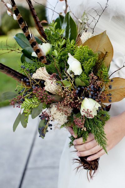 christmas winter bridal bouquet feathers