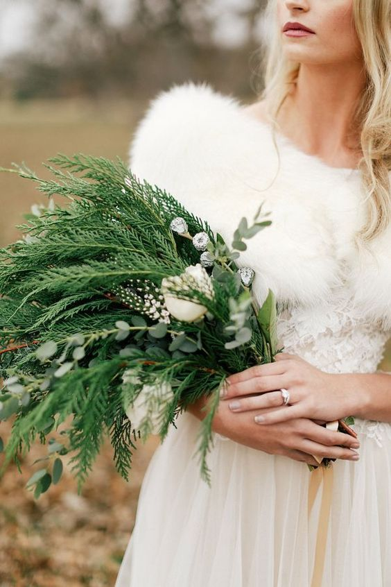 christmas winter bridal bouquet simply perfect