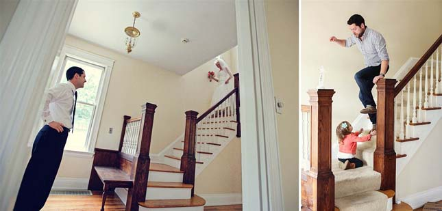 Στην ίδια σκάλα, ο Μπεν περιμένει την Άλι που κατεβαίνει φορώντας το νυφικό της και παίζει με την Ολίβια