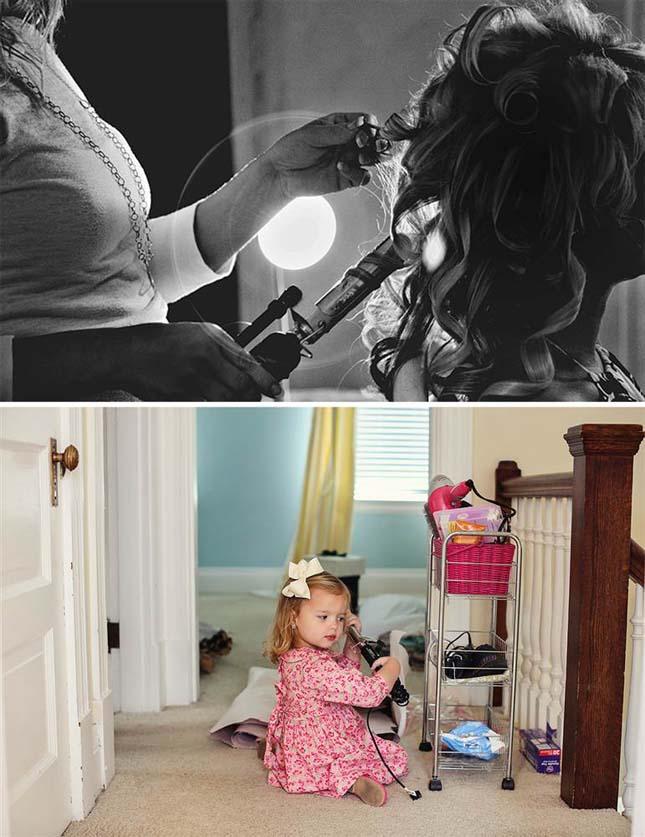 Φτιάχνοντας τα μαλλιά τους, πάνω η Άλι την ημέρα του γάμου της και κάτω η Ολίβια