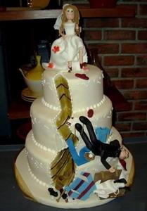 τούρτα διαζυγίου που η νύφη σπρώχνει τον γαμπρό