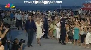Άφιξη πρίγκηπα Παύλου και Μαρί Σαντάλ στη δεξίωση πριν τον γάμο Νικόλαου Τατιάνας