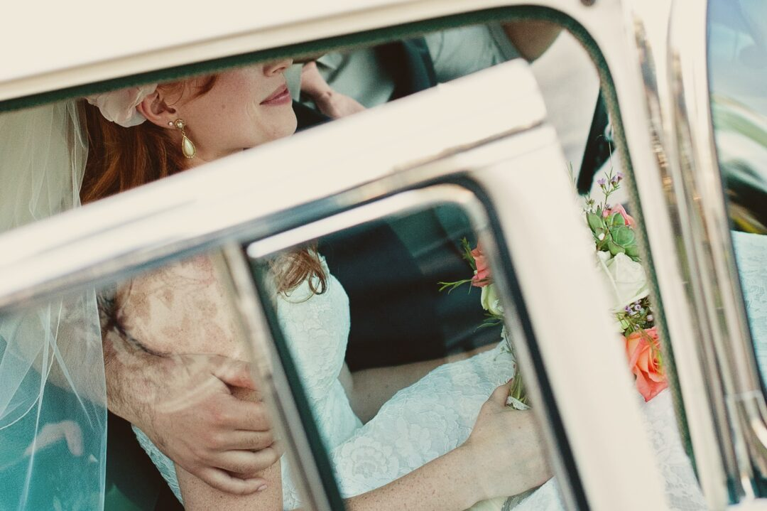 bride in white vehicle